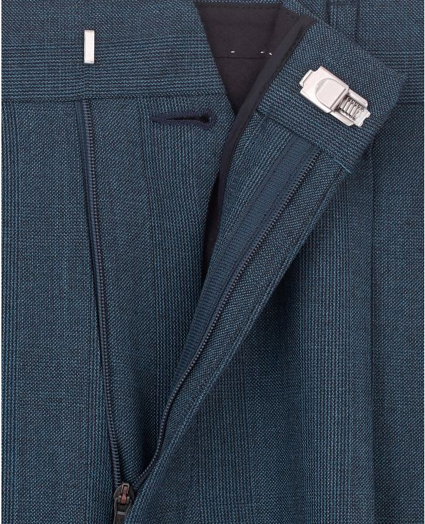 Navy Prince of Wales Check Classic Fit Trouser