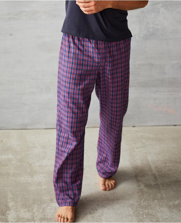 Blue Red Check Brushed Cotton Lounge Pants - MLP1024RED