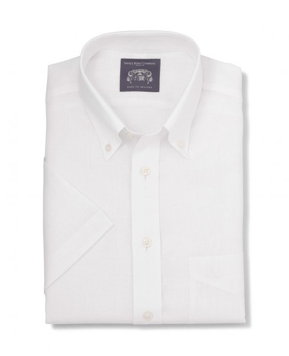 Monty White Linen Made-To-Measure Shirt