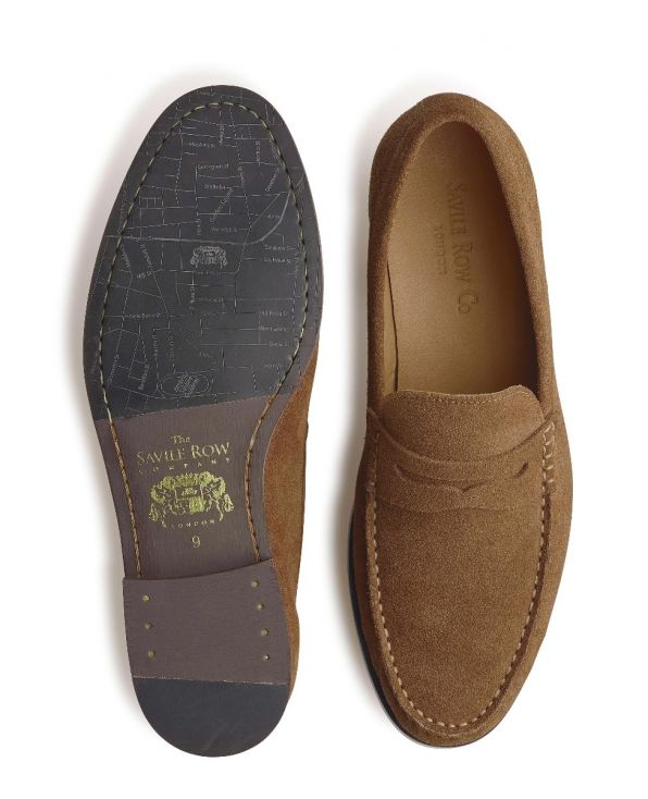 Tan Suede Loafers - MSH771WOD - Small Image 280x344px