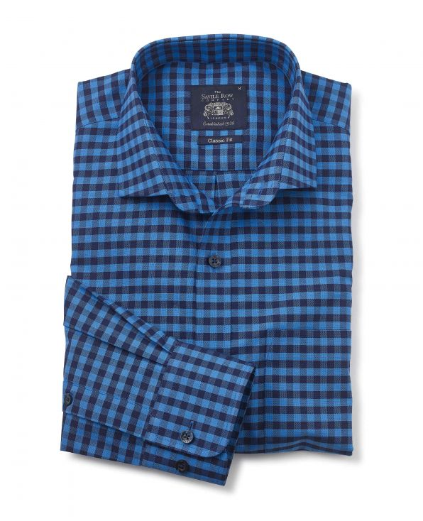 Navy Blue Gingham Check Classic Fit Casual Shirt - 1335BLN - Large Image