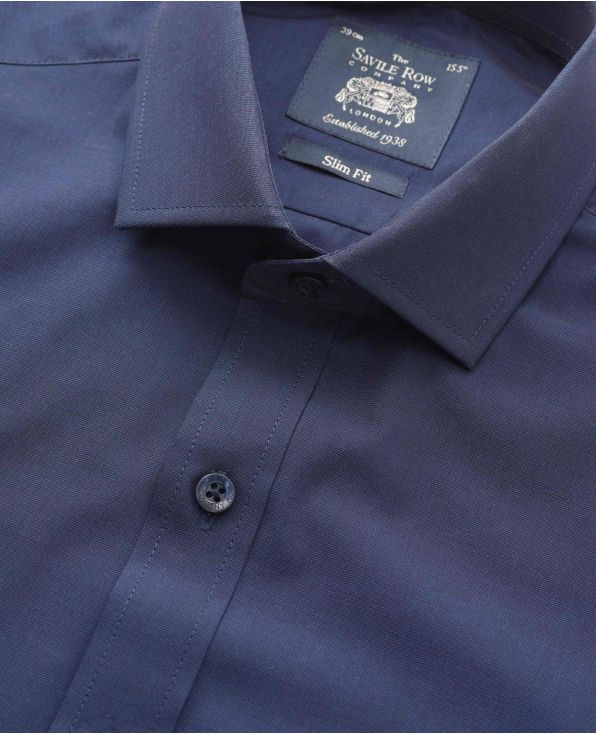 Navy End-On-End Slim Fit Shirt - Single Cuff - 3081FNV - Small Image 280x344px