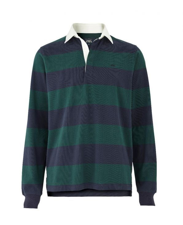 Navy Green Striped Rugby Shirt