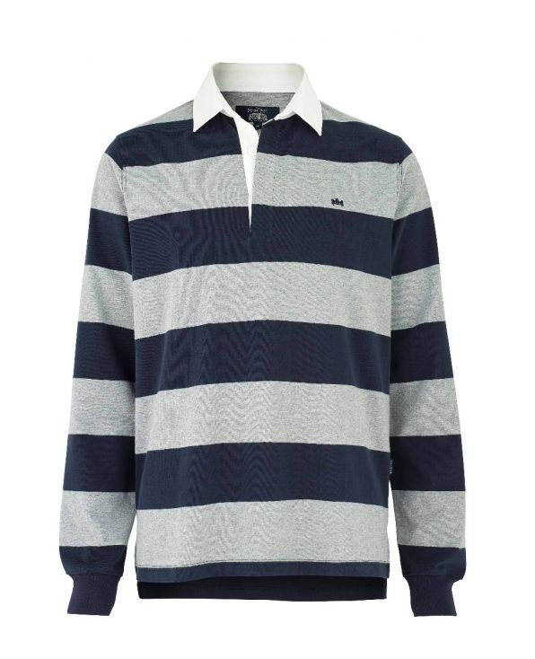 Navy Grey Striped Rugby Shirt