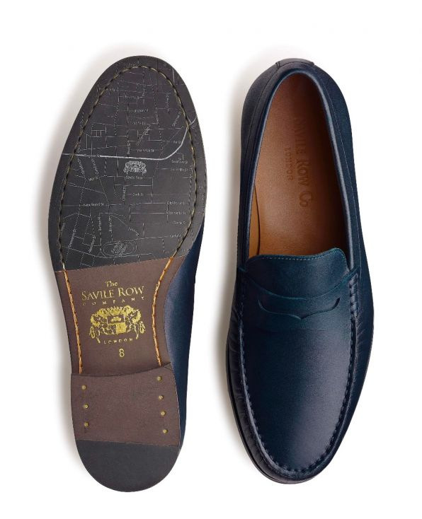 Navy Leather Loafers - MSH770NAV - Small Image 280x344px