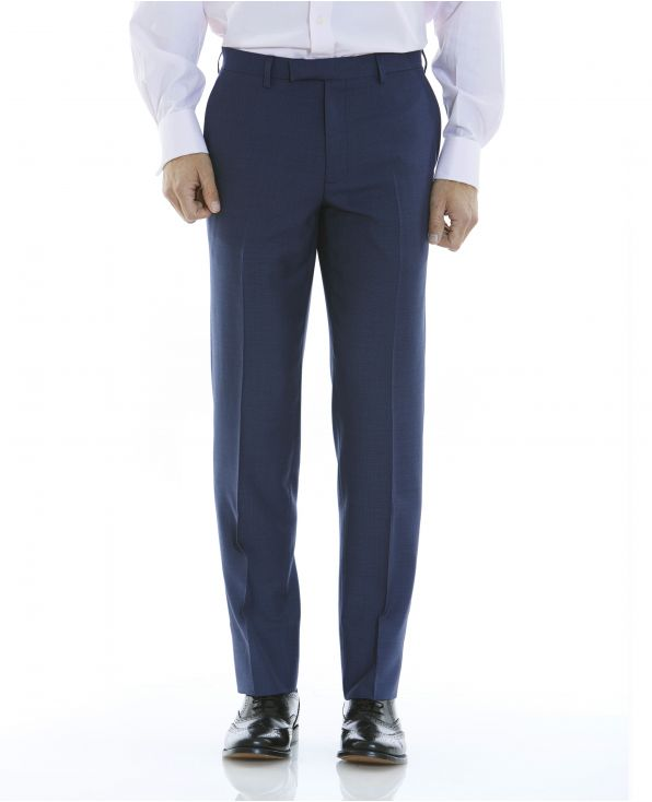 Navy Microdot Tailored Business Suit Trousers - MFT501NAV - Large Image