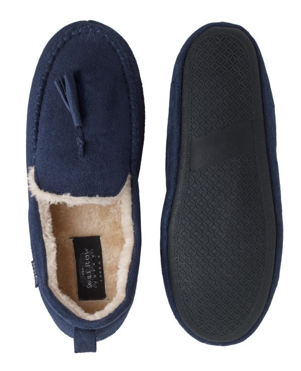 Navy Microsuede Moccasin Slippers