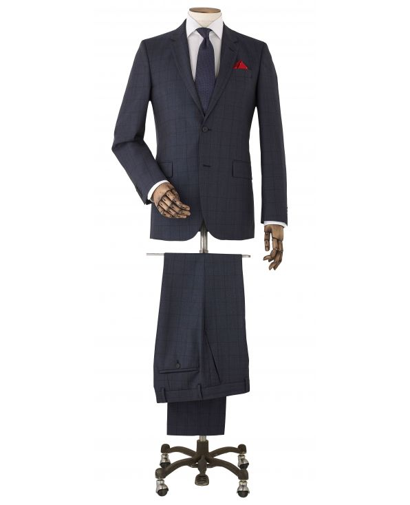 Navy Muted Check Wool-Blend Suit - MSUIT344NAV - Thumbnail Image 78x98px