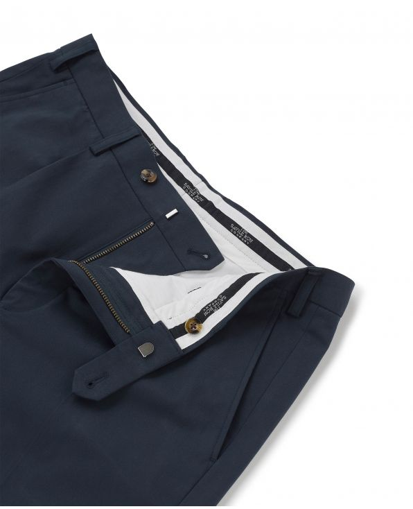 Navy Pleat Front Stretch Cotton Classic Fit Chinos - MCT331NAV - Large Image