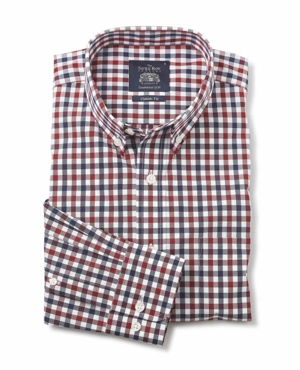 Navy Red White Gingham Check Classic Fit Shirt - 1320REN - Large Image