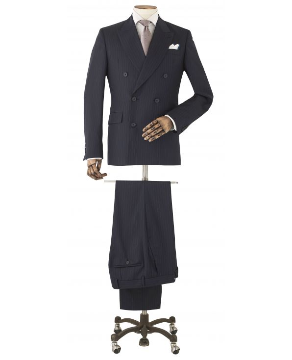 Navy Stripe Wool-Blend Double-Breasted Suit - MSUIT341NAV - Thumbnail Image 78x98px