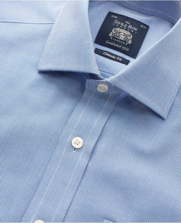 Navy Textured Cotton Classic Fit Shirt - Single Cuff - 3080NAV - Large Image