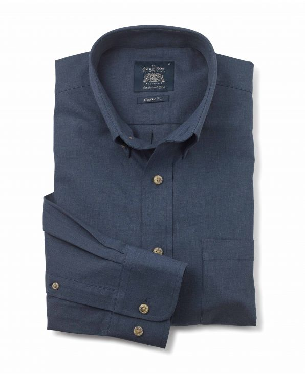 Navy Twill Classic Fit Casual Shirt - 1338NAV - Large Image
