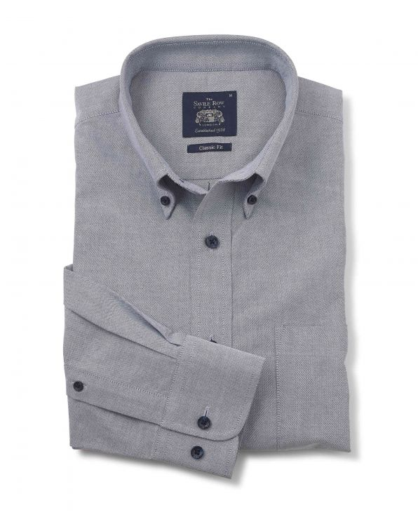 Navy White Blend Classic Fit Oxford Shirt - 1336NAW - Large Image