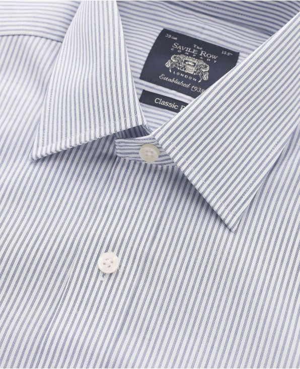 Navy White End on End Stripe Classic Fit Windsor Collar Shirt - Double Cuff