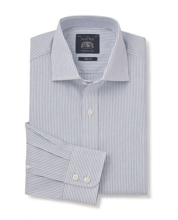 Navy White End-on-End Stripe Slim Fit Cutaway Collar Shirt - Single Cuff - 3066NAV - Large Image