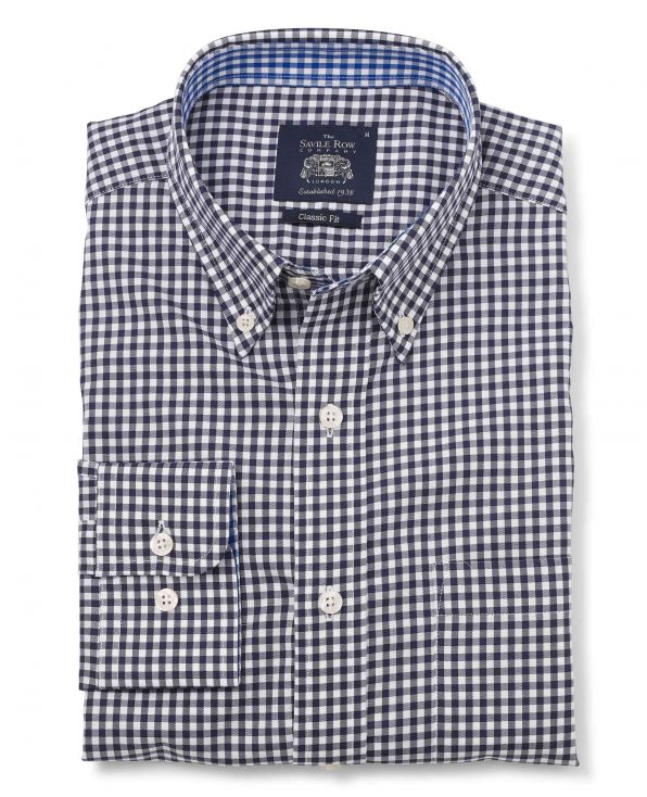 Navy White Gingham Twill Classic Fit Button-Down Casual Shirt Folded Shot