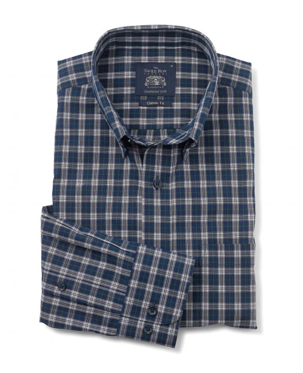 Navy White Green Check Classic Fit Casual Shirt - 1334NAG - Large Image