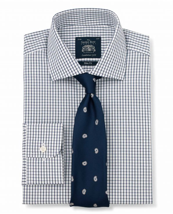 Navy White Poplin Graph Check Slim Fit Shirt - Single Cuff Folded Shot