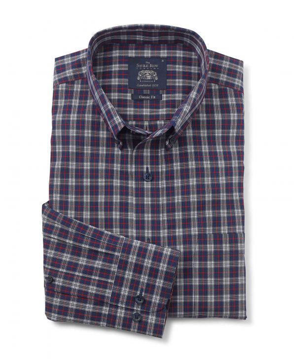 Navy White Red Check Classic Fit Casual Shirt - 1334NAR - Small Image 280x344px