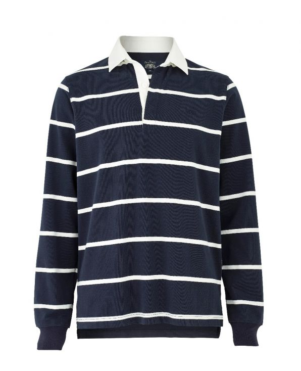 Navy White Striped Rugby Shirt
