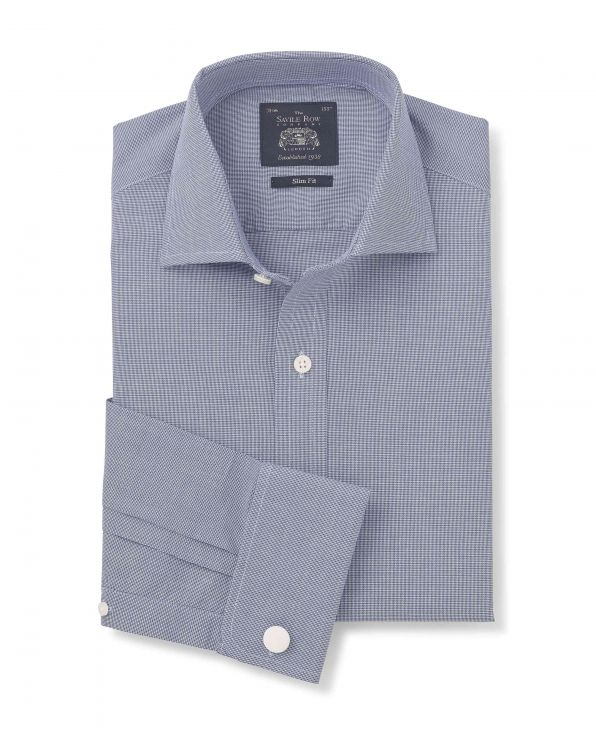 Navy White Textured Weave Slim Fit Shirt - Double Cuff - 3068NAV - Small Image 280x344px