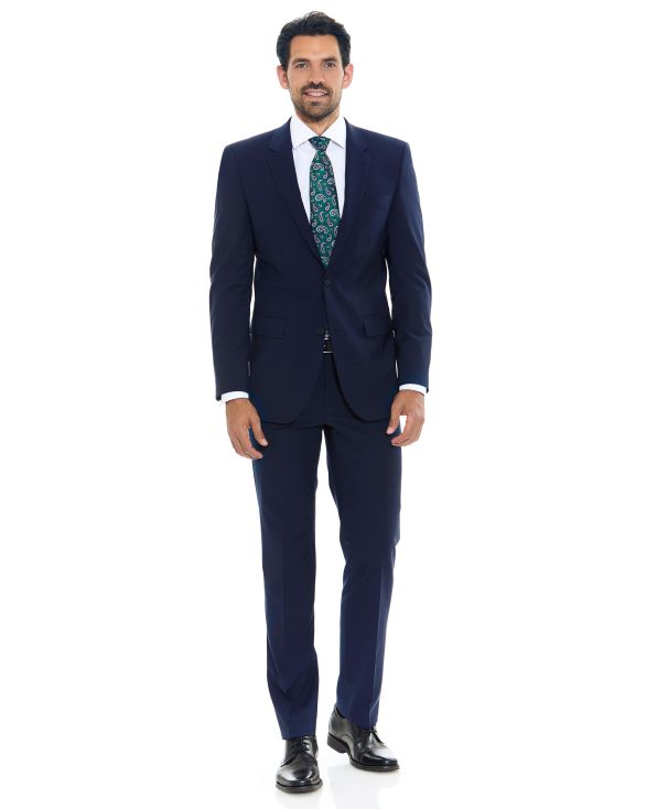 Navy Wool-Blend Tailored Suit - MSUIT337NAV - Large Image