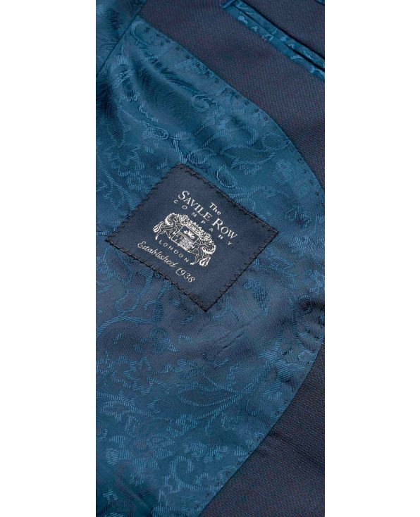 Navy Wool-Blend Textured Suit - MSUIT342NAV - Thumbnail Image 78x98px