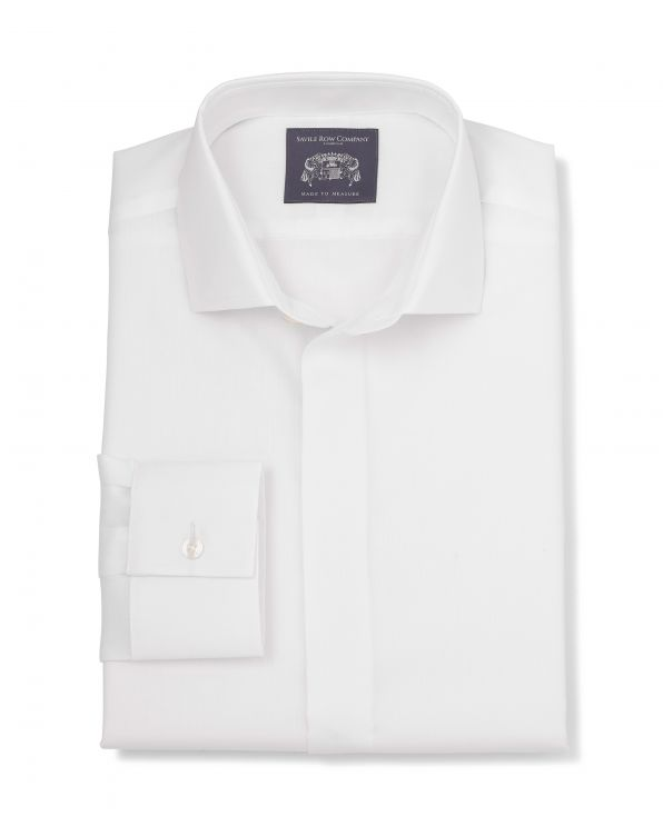 Orlando White Fine Herringbone Made-To-Measure Shirt
