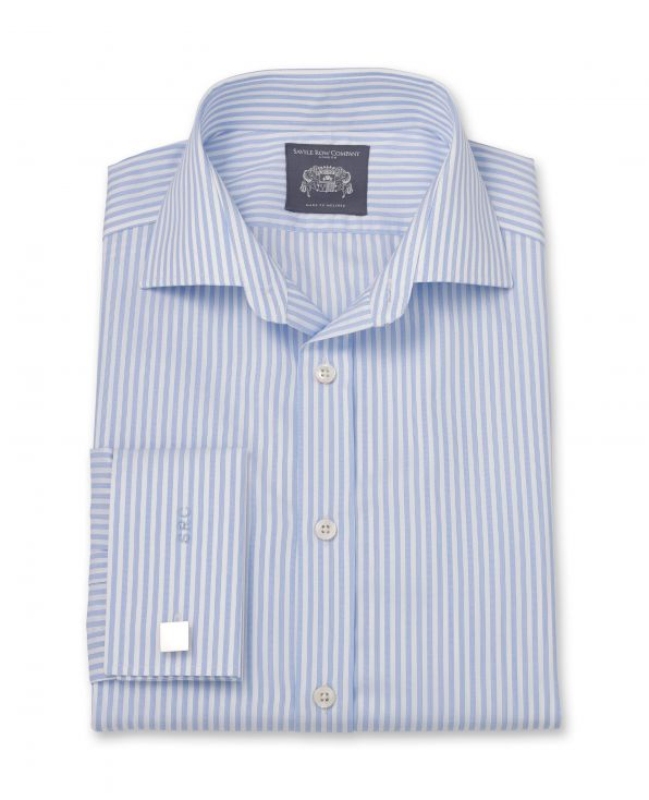 Patrick Blue Satin Stripe Made To Measure Shirt