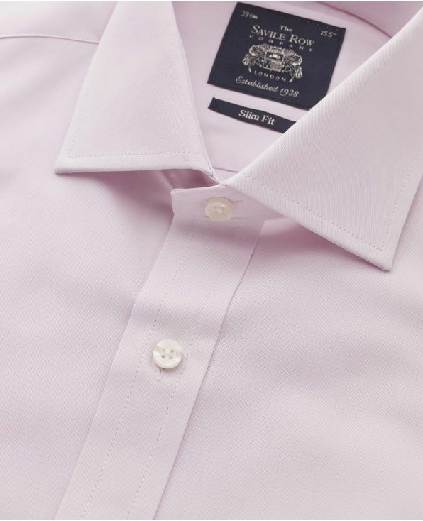 Pink Pinpoint Oxford Cotton Slim Fit Shirt - Single Cuff - 3058PNK - Small Image 280x344px
