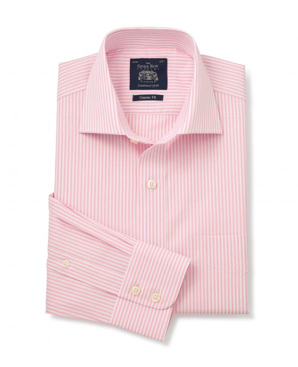 Pink Striped Cotton Oxford Classic Fit Shirt - Single Cuffs - 3088PNK - Large Image