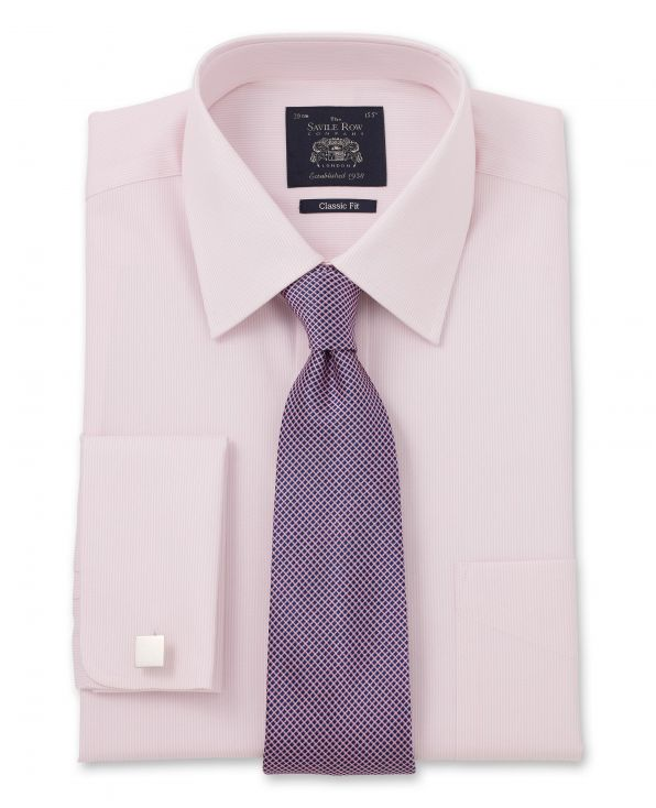 Pink White Raised Stripe Classic Fit Shirt – Single Or Double Cuff Folded Shot