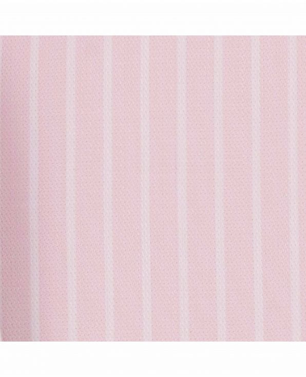 Pink White Reverse Stripe Classic Fit Shirt with White Collar and Double Cuffs