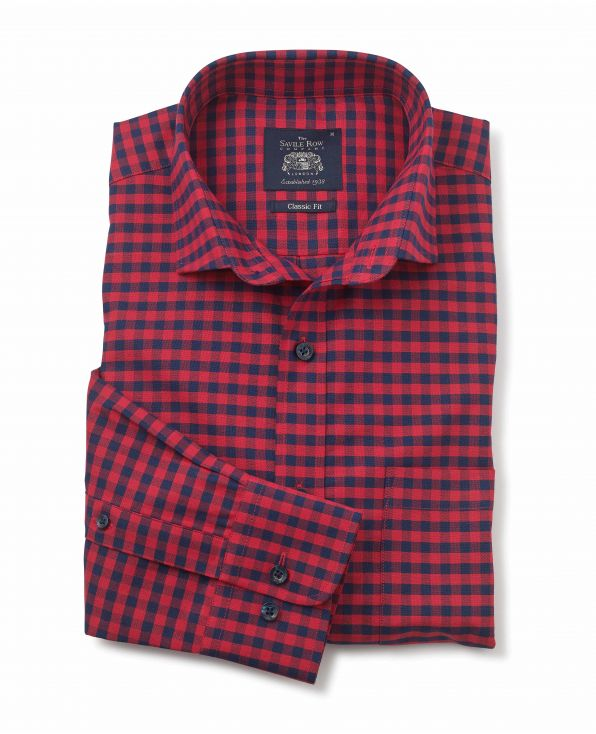 Red Navy Gingham Check Classic Fit Shirt - 1335REN - Small Image 280x344px