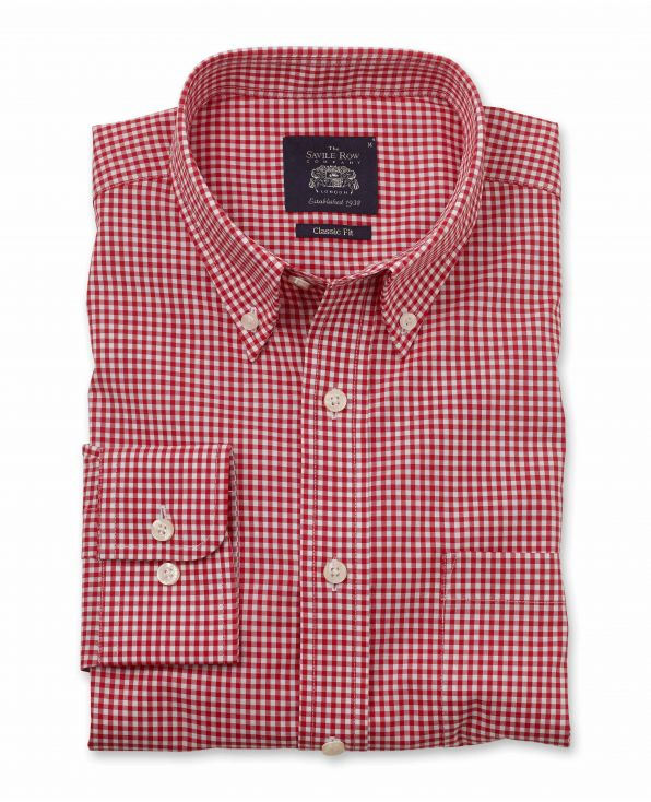 Red White Gingham Classic Fit Button-Down Shirt - 1313RED - Large Image