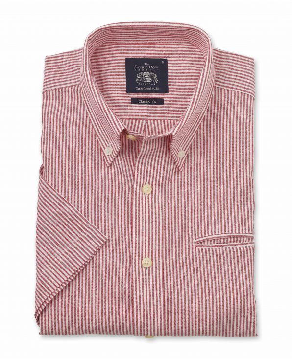 Red White Narrow Stripe Classic Fit Linen-Blend Short Sleeve Shirt - 1310WHRMSS - Large Image