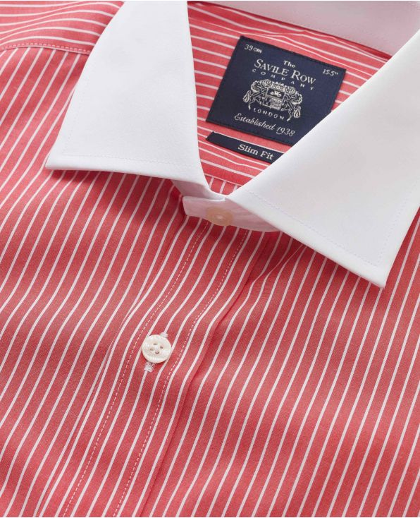 Red White Reverse Stripe Cutaway Collar Slim Fit Shirt - Double Cuff - 1339REW - Large Image