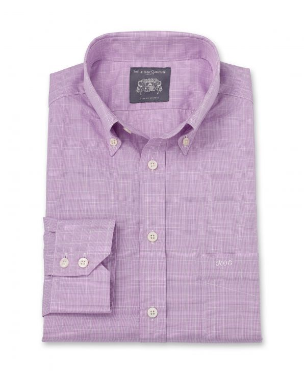 Roger Lilac Prince Of Wales Check Made To Measure Shirt
