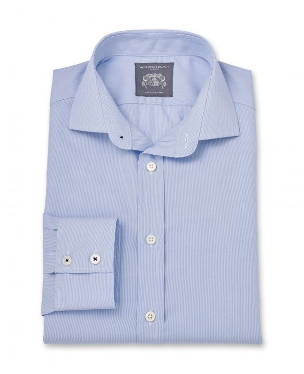 Spencer Blue Hairline Stripe Made To Measure Shirt