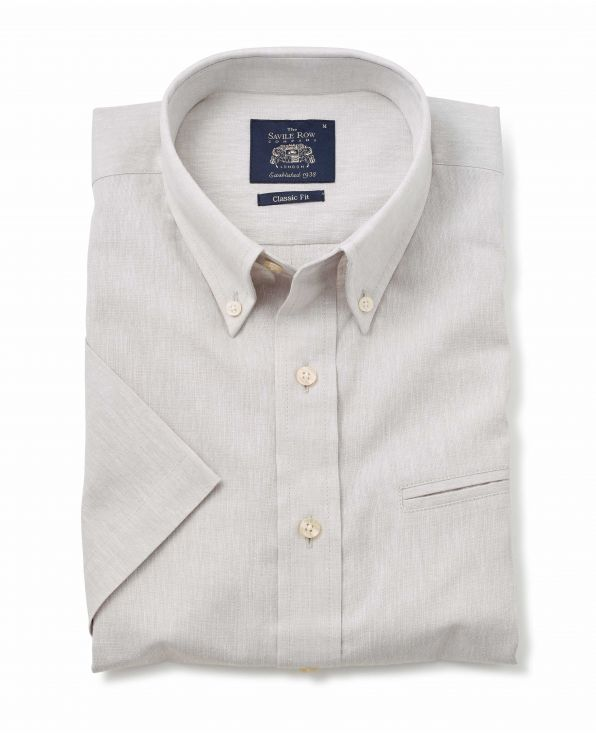 Stone Grey Linen-Blend Classic Fit Short Sleeve Shirt - 1357STNMSS - Large Image
