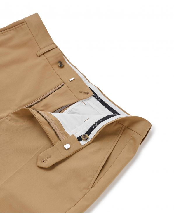 Tan Flat Front Stretch Cotton Slim Fit Chinos - MCT332TAN - Small Image 280x344px