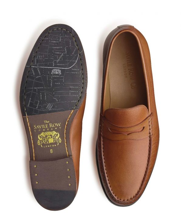 Tan Leather Loafers - MSH770WOD - Small Image 280x344px