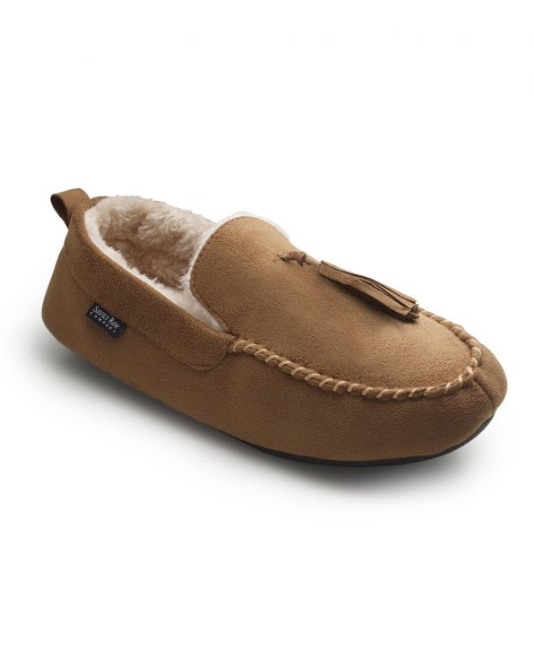 Tan Microsuede Moccasin Slippers