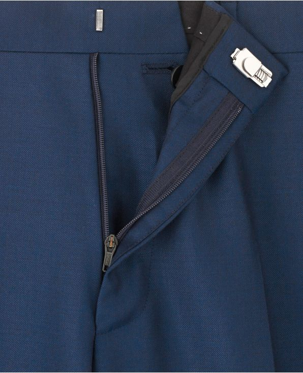 Bright Navy Classic Fit Pleated Trousers