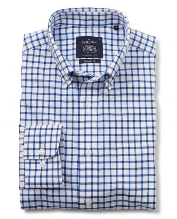 White Blue Twill Check Classic Fit Non-Iron Casual Shirt Folded Shot