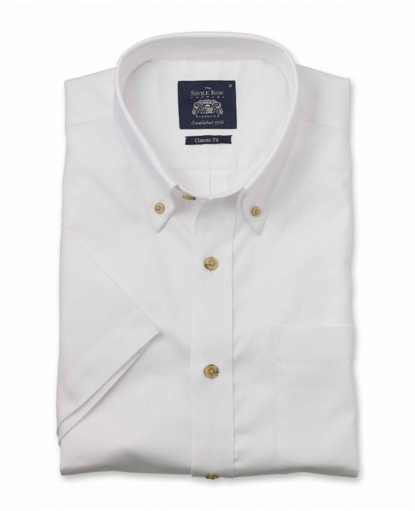 White Classic Fit Short Sleeve Oxford Shirt