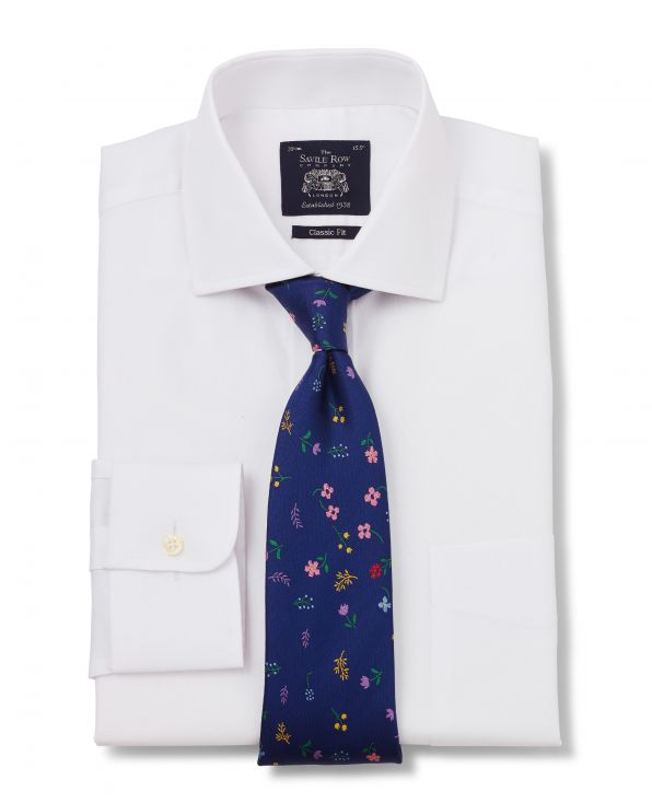 White Dobby Classic Fit Cutaway Collar Shirt - Single Cuff - 1293WHT - Large Image