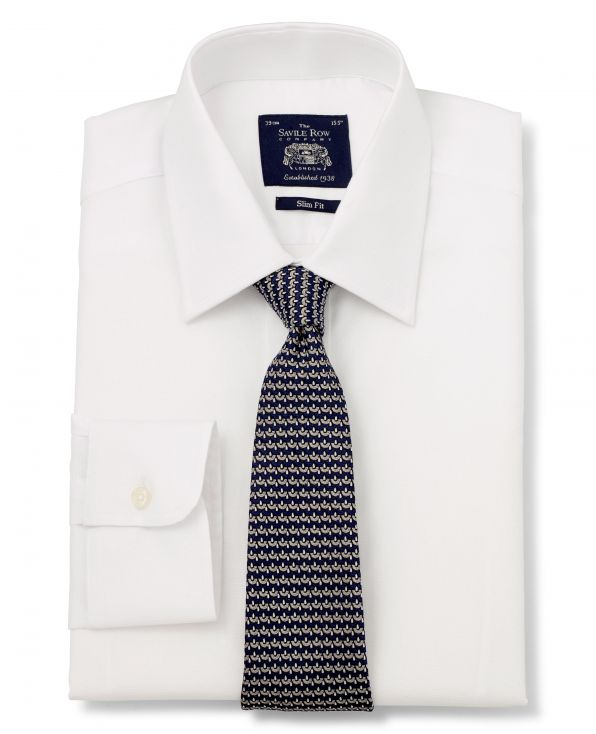 White Dobby Square Slim Fit Shirt - Single Cuff Folded Shot