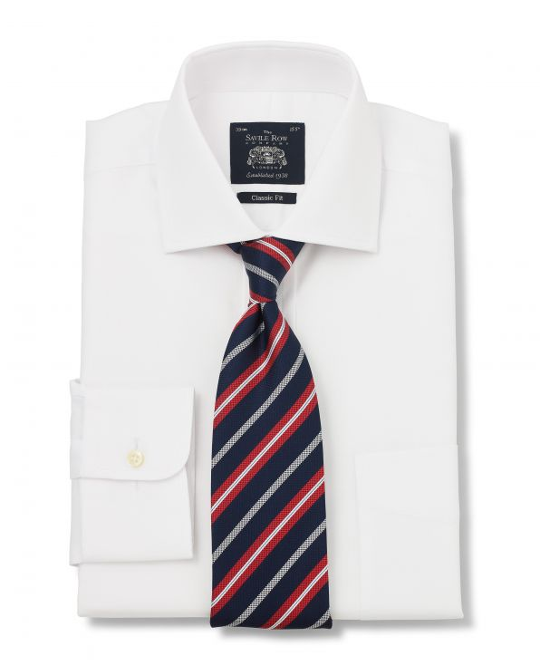 White Fine Herringbone Classic Fit Shirt - Single Cuff With Tie - 1296WHT - Large Image